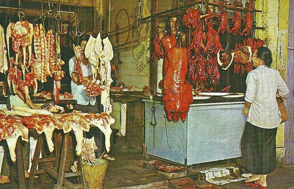 Farboto: Fleischverkauf in Singapur