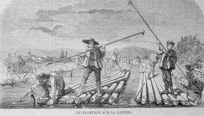 Flößer, Floß, Holztransport, Flottage