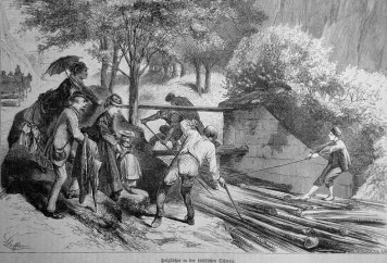 Stich: Holzflößer bei der Arbeit, Schaulustige stehen am Fluss Ufer