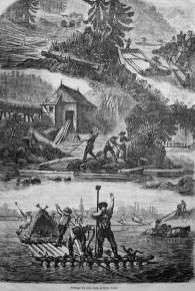 alter Stich: mehrere Szenen des Holztransports
