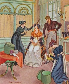 farbige Abb.: Dame bei der Anprobe von Damenhüten