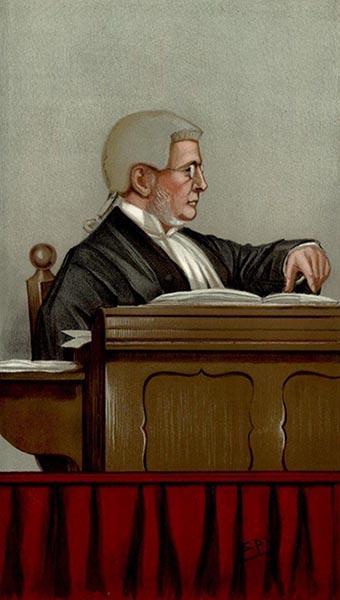 farbige Zeichnung: bebrillter Richter mit Perrücke sitzt auf dem Richterstuhl
