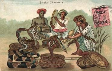 Schlangenbeschwörer, Schlangen, Trommler, Indien