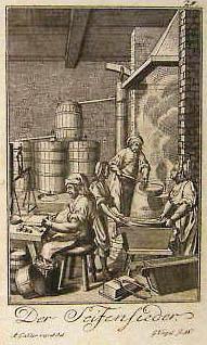 alter Stich: Seifensieder beim Seife herstellen