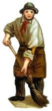 Glanzbild: Mann kehrt mit Reisigbesen