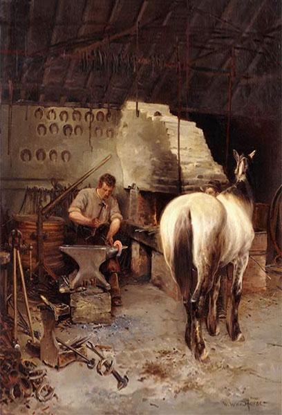 Gemälde: Hufschmied in seiner Werkstatt beim Schmieden eines Hufeisens, rechts von ihm stehend beobachtet das ein Pferd