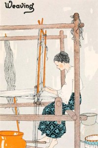 schöne Zeichnung: junge Frau sitzt am Webstuhl