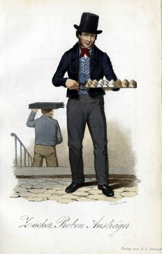 farbige Zeichnung: Mann mit Zylinder hat auf einem Tablette unterschiedliche Zuckerhäufchen
