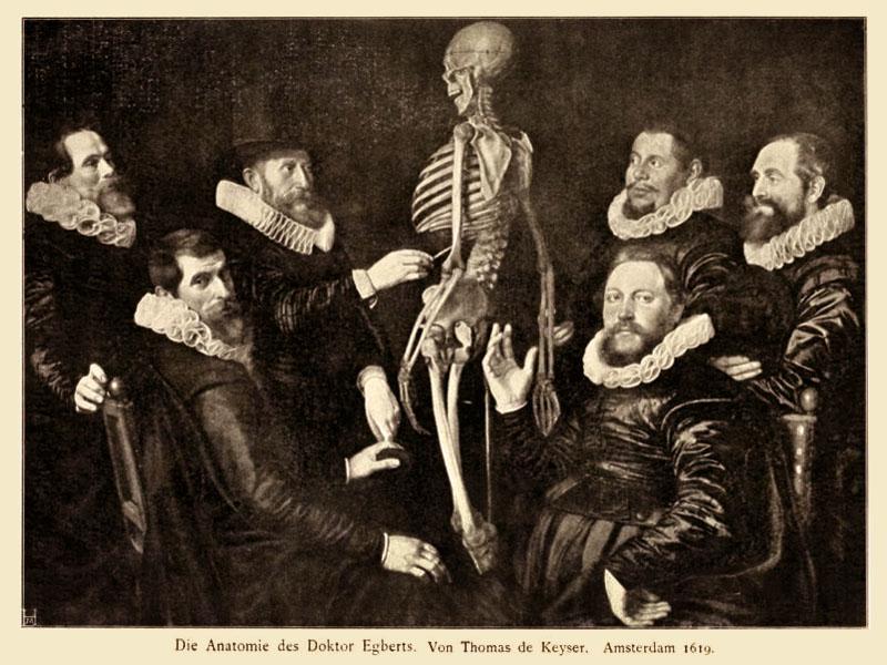 Gemälde: sechs Ärzte mit Rüschenhalskrause umringen ein aufgestelletes Gerippe
