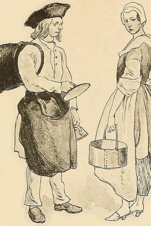 Zeichnung: Kesselflicker hebt den Deckel eines Topfes einer Frau