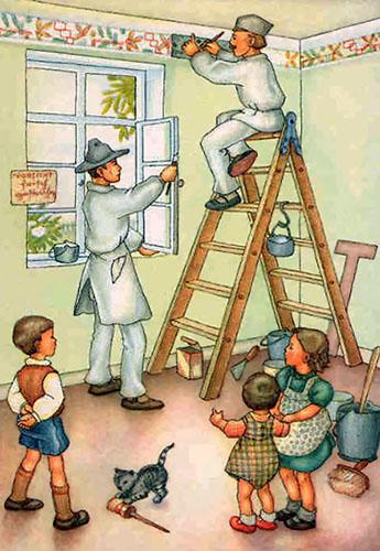 Kolorierte Zeichnung: im Rauminneren streicht ein Maler das Fenster und ein zweiter malt auf einer Bockleiter sitzend mittel Schablone eine Schmuckbordüre an der oberen Wand und im Vordergrund drei kleine Kinder, die das Geschen beobachten