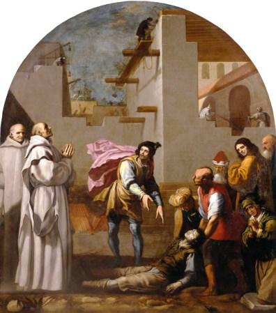 Gemälde: am Boden liegender, tötlich verunglückter Bauarbeiter, umringt von Menschenmenge und zwei Priestern