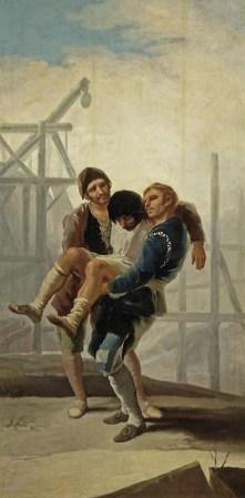 Gemälde: zwei Männer tragen einen verunglückten Bauarbeiter