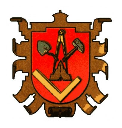 Wappen mit Maurerkelle, Zirkel, Hammer, Senklot und Winkel auf rotem Grund