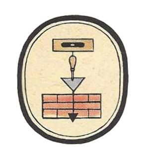 ovales Zeichen, von oben nach unten Wasserwaage, Maurerkelle, Senklot und kleine Ziegelmauer