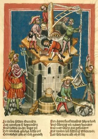 farbige Buchmalerei: Turmbau-Baustelle mit Baukran und Arbeitern bei verschiedenen Tätigkeiten