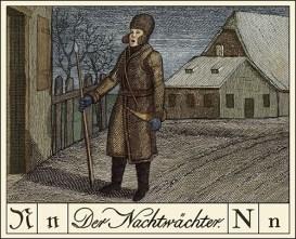 kolorierter Kupferstich: singender Dorfnachtwächter mit Spieß und Horn