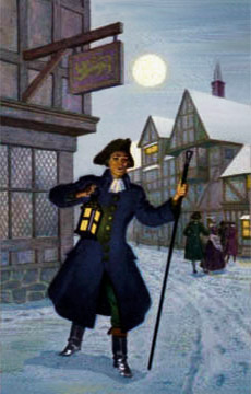 Farb-illu: Nachtwächter mit Laterne und Handstock im Winter bei Vollmond
