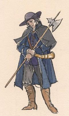 Kolorierte Zeichnung: Nachtwächter mit müde hängendem Kopf, umgebundenem Horn und Hellebarde