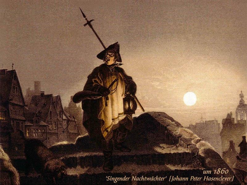 Gemälde: singender Nachtwächter bei Vollmond