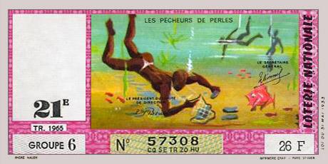 Lotterieschein mit Bild von Perlentauchern