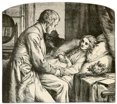 sw-Bild: Arzt bei kranker Frau am Bett hält ihren Arm