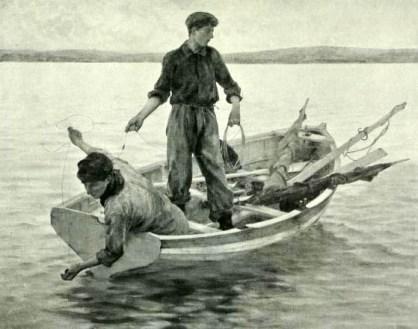 sw-Bild: zwei junge Männer im Boot werfen Angelsehne aus