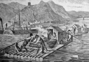 sw-Stich: Floß mit Schutzhütte und Leuten beladen auf dem Fluss