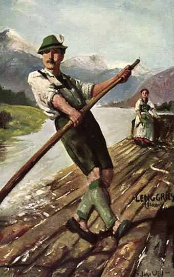 farbiges Bild: Flößer und Frau in Tracht auf dem Floß
