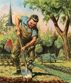 Gärtner, Landwirt, umgraben