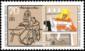 Schneiderberuf alt und modern auf einer Briefmarke