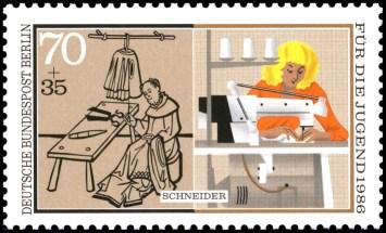 Der Beruf des Schneiders auf einer Briefmarke: früher und heute im Vergleich