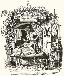 Zeichnung; Schneider sitzt am offenen Fenster und näht, Kinder schauen um die Ecke