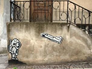 Astronaut Rakete Streetart Polen