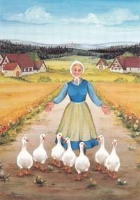 Gemälde: das Gänseliesel treibt sieben Gänse vor sich her auf einem Weg, der vom Dorf weg führt