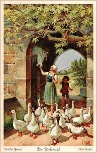 farbige Märchenkarte: Gänsemagd spricht mit Pferdekopf an der Wand in einem Torbogen