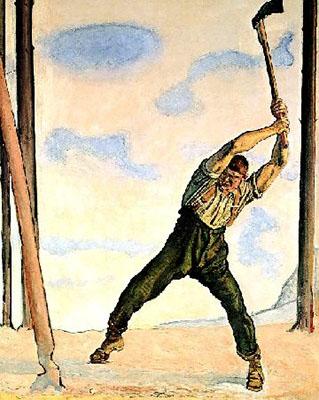 Aquarell: Holzfäller bei der Arbeit in einsamer Landschaft