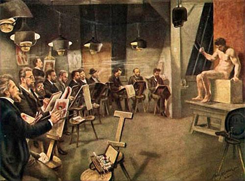 Gemälde: mehrere Maler im Halbkreis sitzend malen auf Podest sitzendes männliches Aktmodel