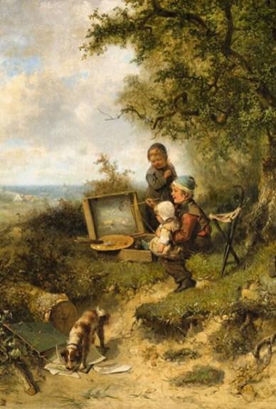 Bildausschnitt: im Freien malt Junge die vor ihm liegende Landschaft, während er im linken Arm auf dem Schoß junges Geschwisterchen hält und rechts neben ihm ein kleines Mädchen zuschaut