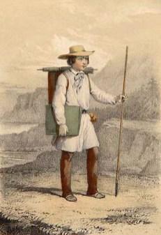 farbige Zeichnung: junger Maler, draußen in der Landschaft unterwegs, mit Leinwand auf dem Rücken und Zeichenmappe unter dem Arm