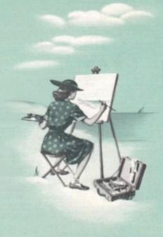 s/w Zeichnung auf blauem Gund: Landschaftsmalerin malt am Ufer sitzend das Meer