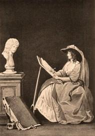 s/w Litho: Portrait der Malerin währen sie das Abbild einer vor ihr stehenden Büste anfertigt
