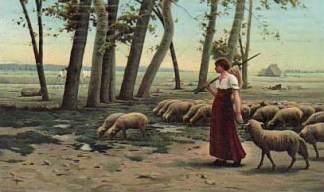 Schäferin zieht mit ihren Schafen übers Land