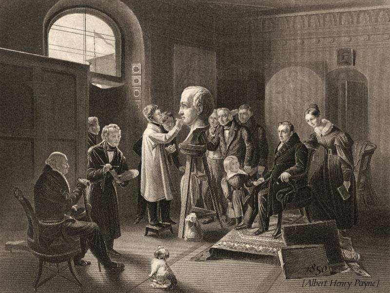 Stahlstich: Bildhauer arbeitet im Atelieran einer Büste nach in einem Stuhl sitzenden Herrn als Model; weitere Herrschaften stehen rundum und beobachten das ganze