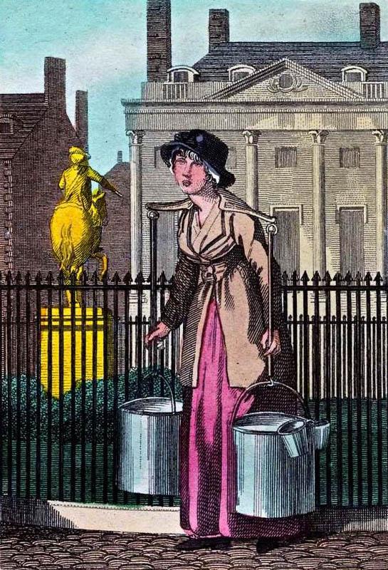 farbige Zeichnung: Frau trägt zwei Wassergefäße auf den Schultern