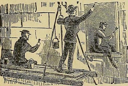 alte Illustration: drei Anstreicher beim streichen eines Hauses