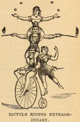 Radartisten, Radakrobaten, Abb.: zwei Frauen und zwei Männer vollführen Kunststückchen auf einem Hochrad