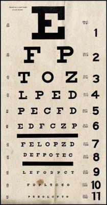 alte Lesetafel zur Überprüfung der Augenleistung oder Sehschwäche