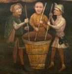 Gemälde: drei mittelalterliche Färber rühren mit hölzernen Färberstöcken in einem großen mit Färberflotte gefülltem Holzbottich