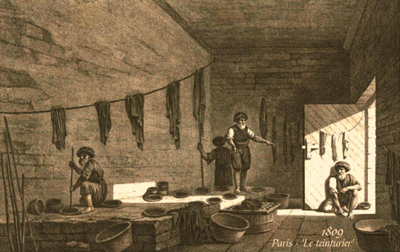 Litho: mehrere Färber in einer Färberküche bei der Arbeit